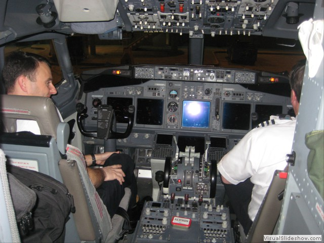The cockpit of the plane home.